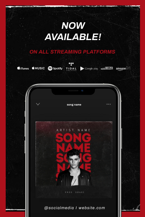 """New Single"" NEW ALBUM RELEASE AVAILABLE - FLYER TEMPLATE Banner 4' × 6'"