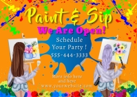 """We are Open"" Paint & Sip Postcard Carte postale template"