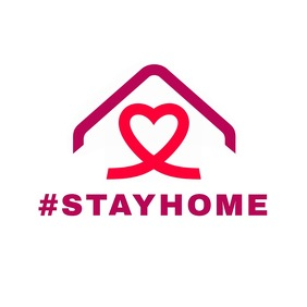 #stay home red and purple logo