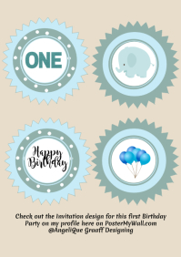 .....is Turning ONE - Cupcake Toppers