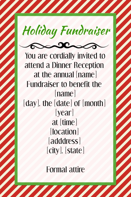 Holiday Christmas Fundraiser Invitation Flyer Poster Template
