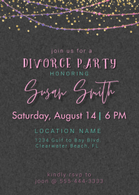 Divorce Party Postcard Invitation A6 template