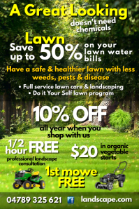 Great Looking Lawn Poster template