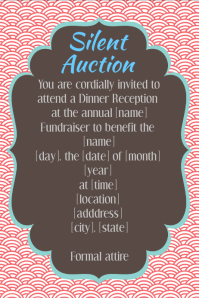 Silent Auction Fundraiser Dinner Reception Invitation Flyer