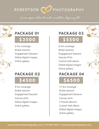 Photography Packages List Menu