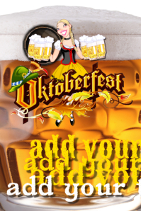 Oktoberfest Bar Maid Girl Beer Event Flyer POster