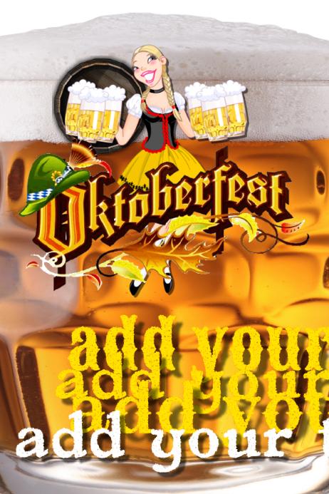 Oktoberfest Bar Maid Girl Beer Event Flyer POster