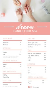 Pink Hand and Foot Massage Spa Menu
