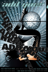 Disco Ball Party Pin-Up Female Club Ladies Night Dance Bar DJ Event Flyer Poster