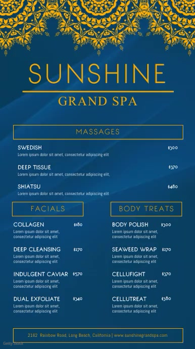 Blue Oriental Spa Menu Template