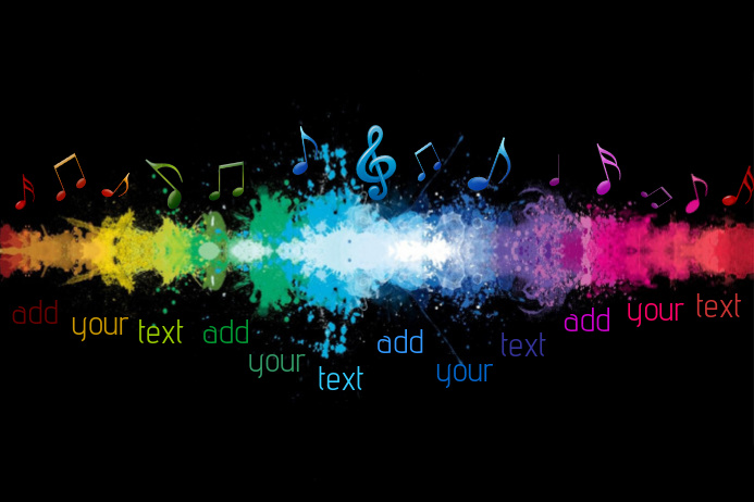 Music Notes Sound Wave Rainbow Colorful Event Band Bar