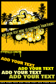 Yellow Black Teen College Spring Break Summer Beach Grunge Retro Party Business Flyer