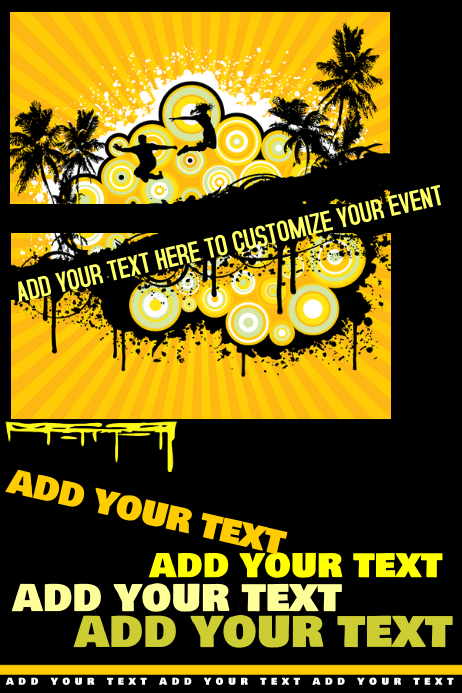 Yellow Black Teen College Spring Break Summer Beach Grunge Retro Party Business Flyer