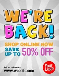uper sale 50% off shop online video ad Flyer (US Letter) template