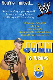 WWE John Cena Birthday Party Invitation