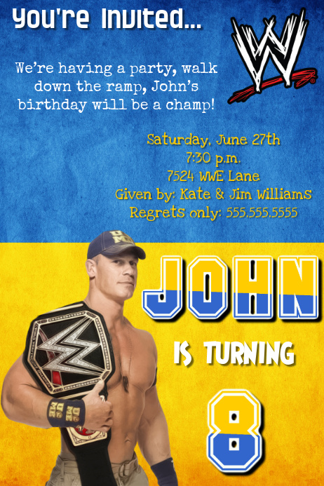 graphic about Wwe Birthday Invitations Printable Free known as WWE John Cena Birthday Occasion Invitation Template PosterMyWall
