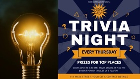 Blue and Yellow Trivia Night Facebook Cover Video template