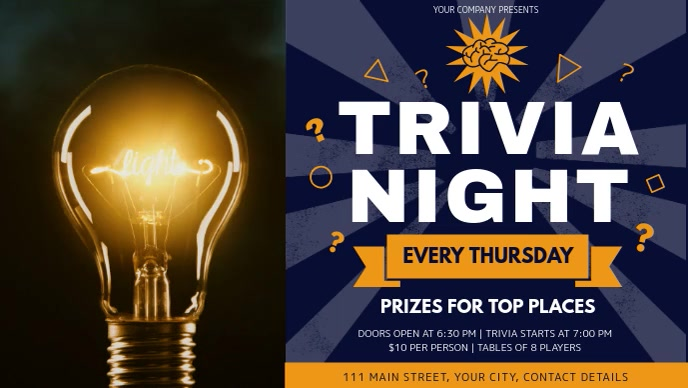 Blue and Yellow Trivia Night Facebook Cover Video