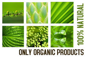 100% natural green landscape poster template for organic products