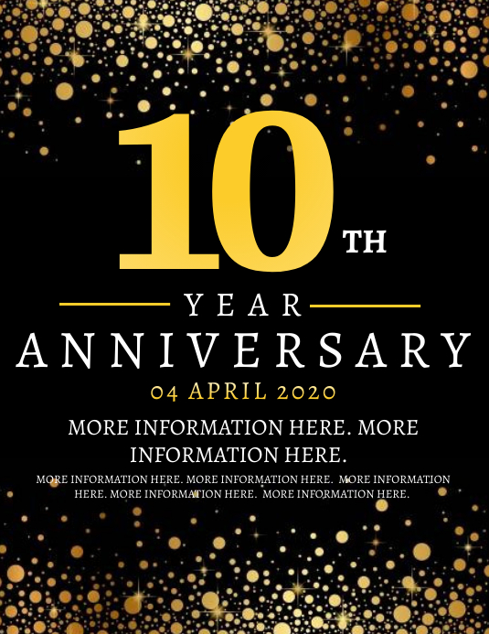 10th Year Anniversary Flyer Template