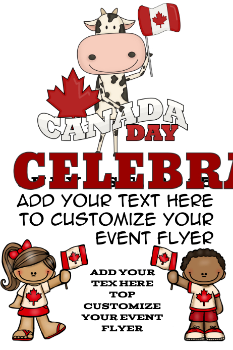 Canada Day Hockey Celebration Event Canadian Maple Pride Red White Flag Country International Event Cartaz template