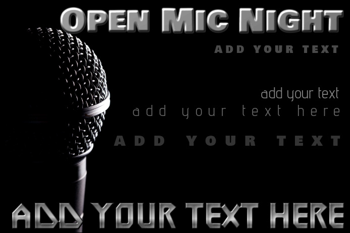 Open Mic Night Karaoke Music Microphone Jam Event Bar Band Flyer