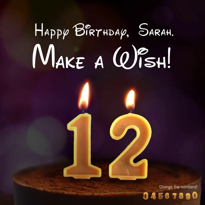 12-year-old birthday candles Vierkant (1:1) template