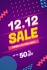 12.12 Sale Discount Poster Flyer template