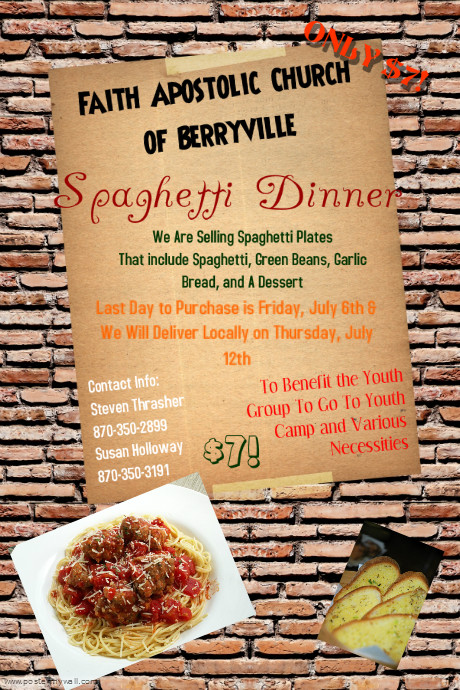 Faith Apostolic Church Of Berryville Spaghetti Dinner Flyer