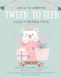 13th Birthday Party Invite for Girl