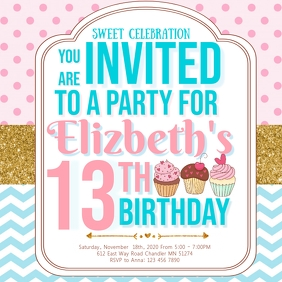 13th Cupcake Themed Birthday Party for Girl