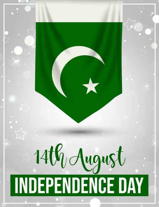 14 august, pakistan independence day Løbeseddel (US Letter) template