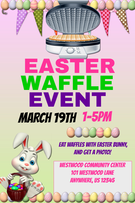 Easter Waffle Event template Poster