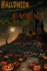 Halloween Haunted House Spooky Pumpkins Event Flyer Poster Invite