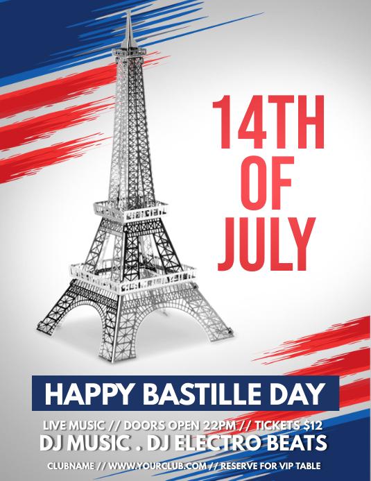 14th of July, Bastille Day Flyer (US Letter) template