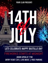 14th of July, Bastille Day Video Flyer (US Letter) template