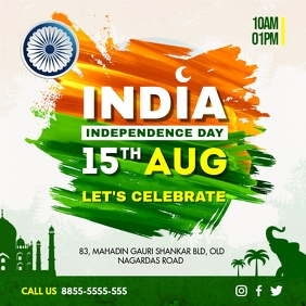 15th August Indian Independence Day Social Me Publicação no Instagram template