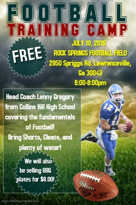 Copy of Football training camp flyer template
