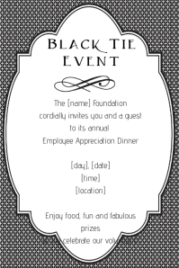 Fancy Black Tie Event Invitation Announcement Poster Flyer