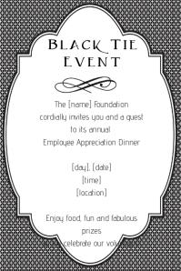 Fancy Black Tie Event Invitation Announcement Poster Flyer