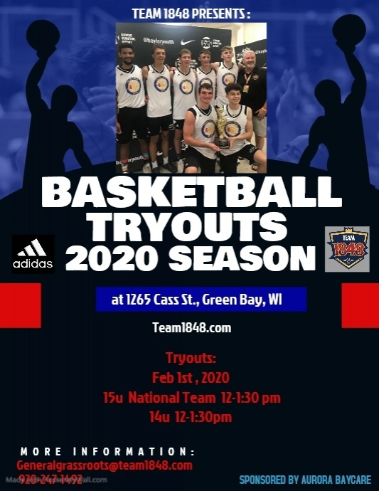 Girls Basketball Tryouts Løbeseddel (US Letter) template