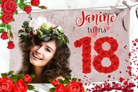 18th Birthday Banner 4' × 6' template