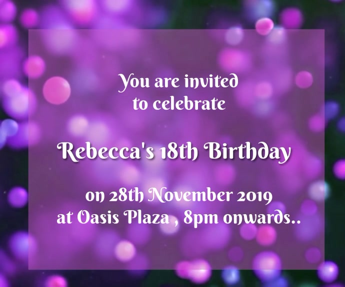 18th Birthday Invitation Rectangle moyen template
