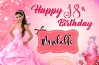 18th Pink Birthday Banner 4' × 6' template