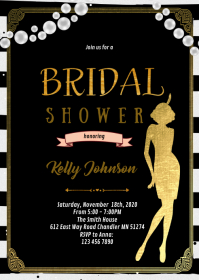 1920s bridal shower birthday party invitation A6 template