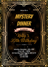 1920s murder invitation A6 template
