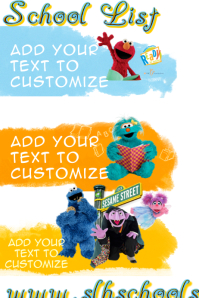 School List Elementary Kindergarten Poster Sesame Street