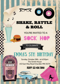 1950's birthday party invitation A6 template