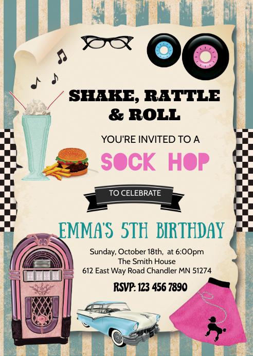 1950's birthday party invitation