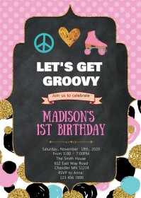 1960s Groovy birthday invitation